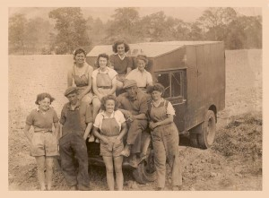 Talgarth Land Girls taking a break during spud picking. Tony Price's mother is the lady at the back of the photo. Source: Tony Price