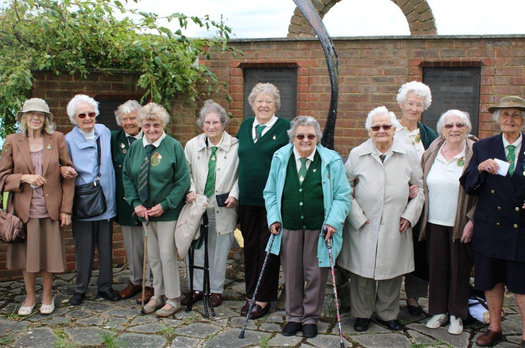 Former land girls at their annual reunion at Romney Marsh Collection museum, Brenzett, Kent- Sunday 17 August 2014. (Left to right): Olive Porritt, Joan Boorman, Stella Masters, Betty Hollingdale, Evelyn Light, Rose Daniels, Olive French, Susie Crouch, Gladys Marshall, Molly Paterson, Doris Bradley