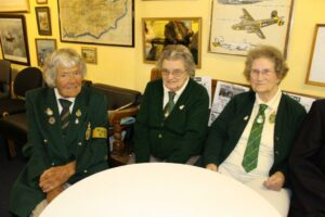 Stella Masters, Olive French and Evelyn Light at the Romney Marsh Wartime Collection museum, Brenzett, for the annual Women's Land Army Reunion, 17 August 2014.
