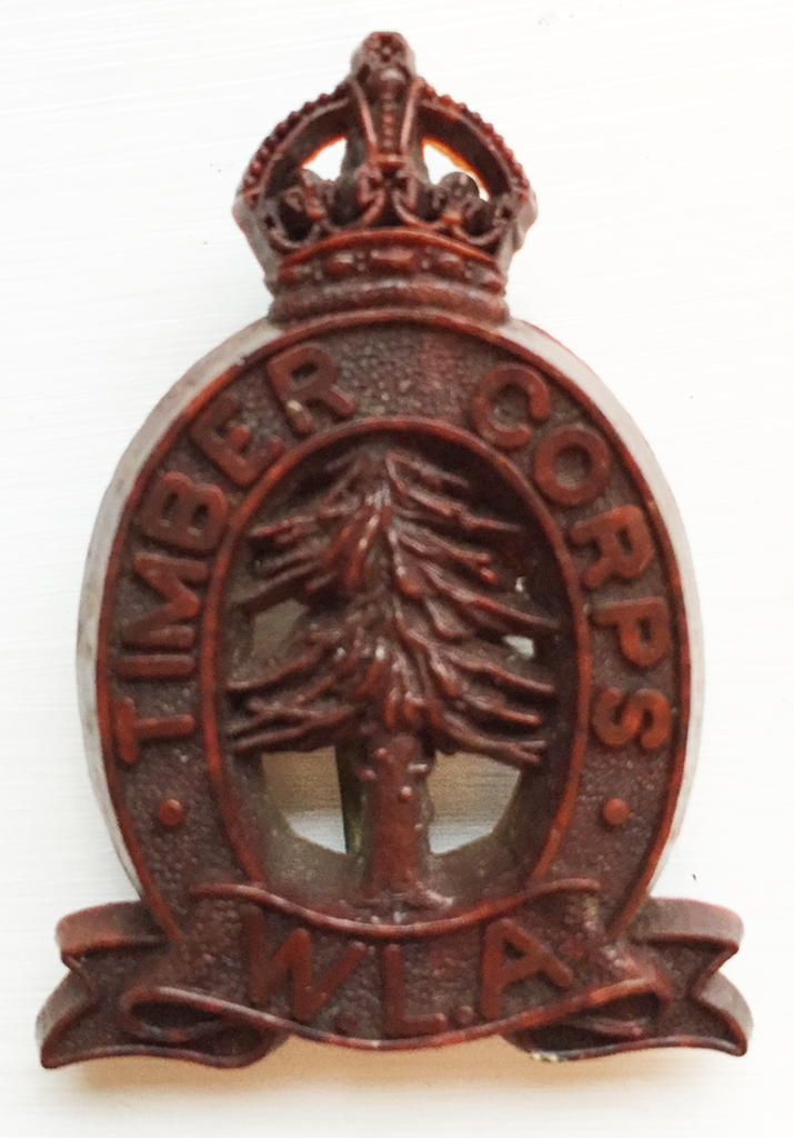 Women's Timber Corps Badge to be worn on beret. Photo of badge from Catherine Procter's WLA Collection.