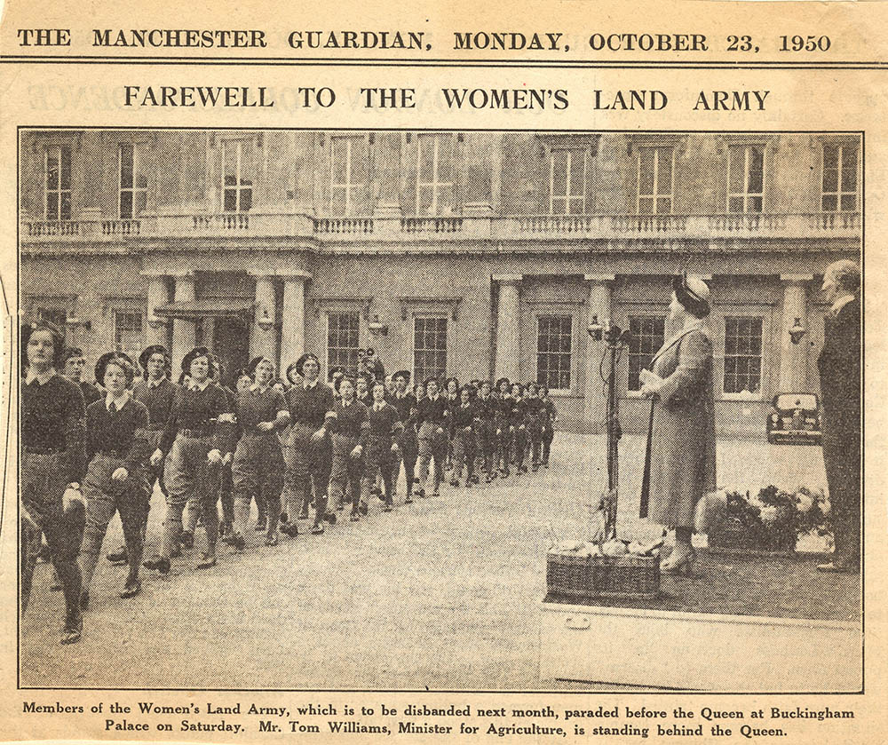 WLA Disbandment Parade Newspaper Article Manchester News Source: The Manchester Guardian, courtesy of Catherine Procter WLA collection