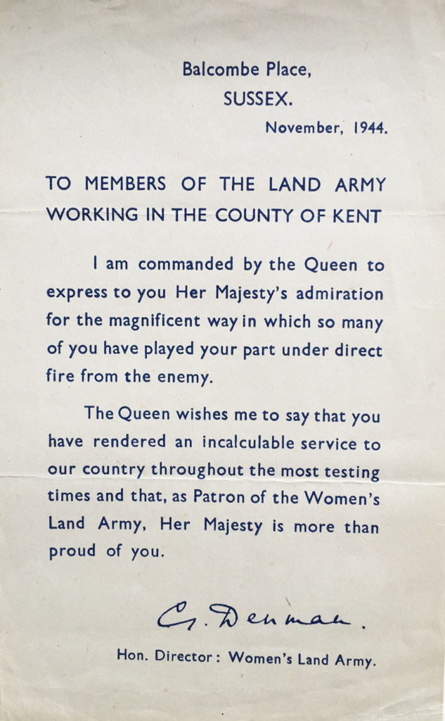 Letter to Kent Land Girls From Lady Denman