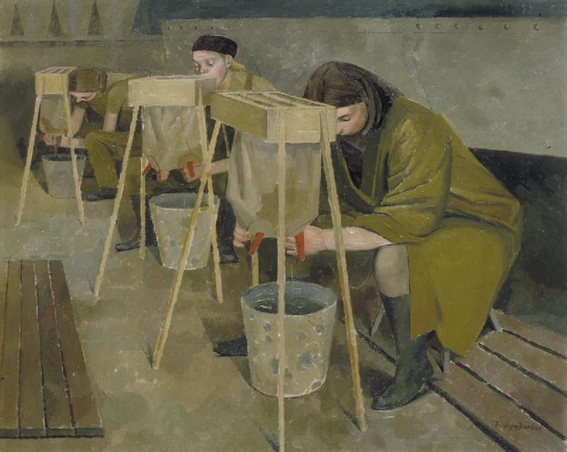 Milking Practice with Artificial Udders, by Evelyn Dunbar Source: Art.IWM ART LD 766