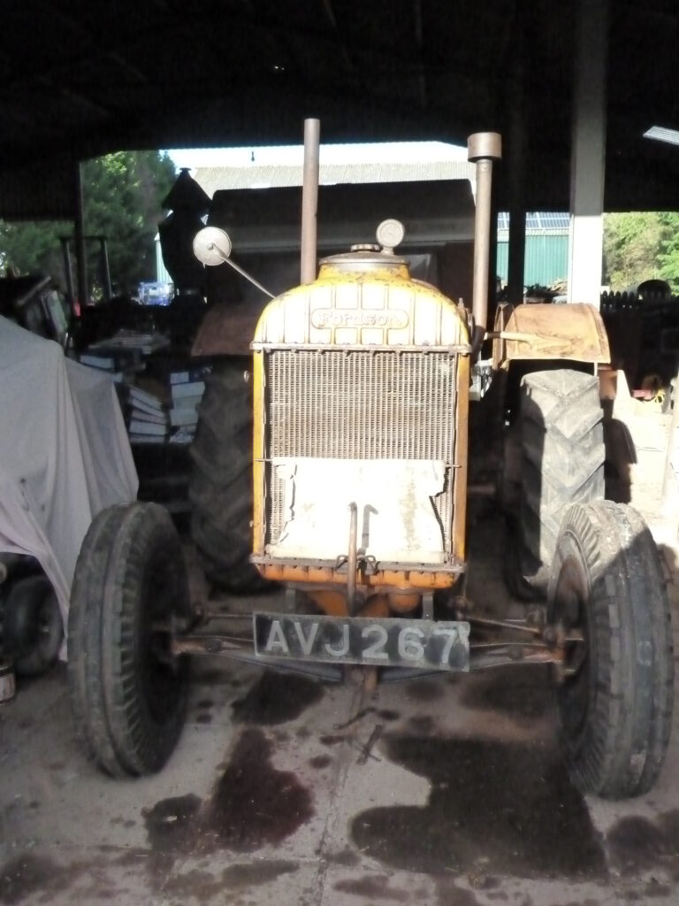 Tractor with Land Girl scratchings