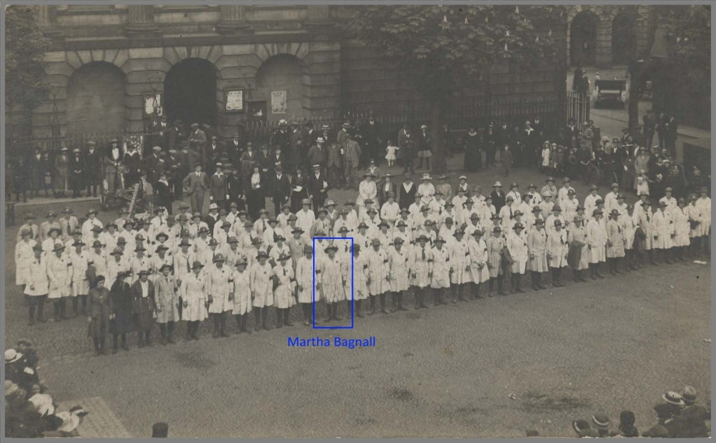Martha Bunting (nee Bagnall) at the award of Good Service Ribbons in Stafford, May 1919.