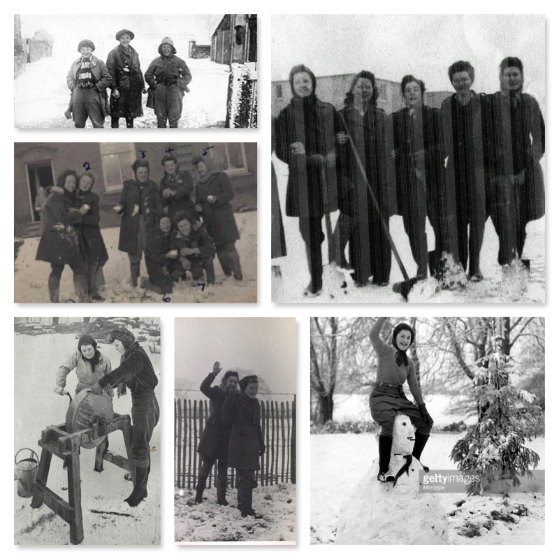 Land Girls and Lumber Jills Snow Collage