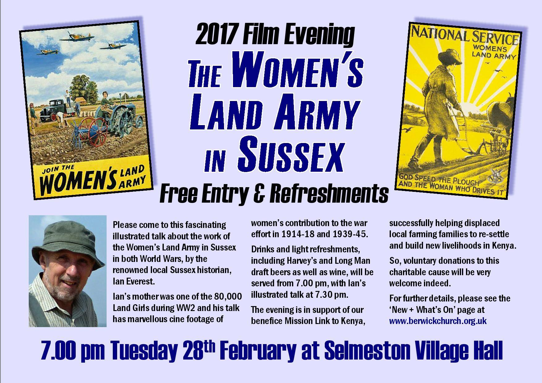 Women's Land Army evening - Selmeston Village Hall, near Lewes, East Sussex, BN26 6UG