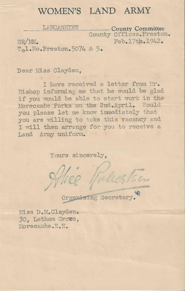 Letter from WLA confirming Dorothy Clayden's work at Morecambe park, 17th February 1942.