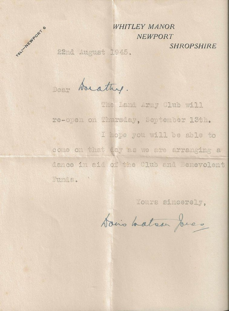 A letter sent to Dorothy about a dance happening at the reopening of the WLA club.