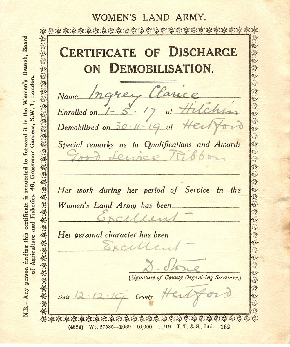 Certificate of Discharge on Demobilisation Source: Catherine Procter Collection