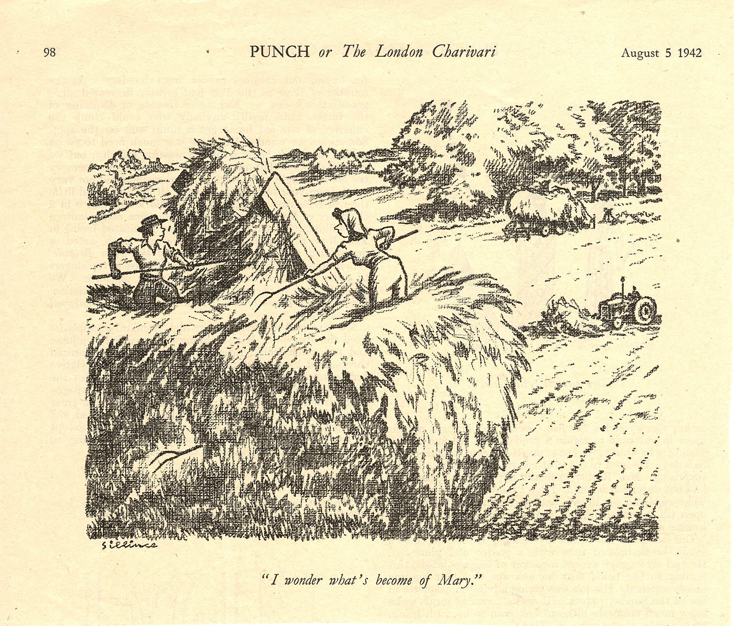 I wonder what's become of Mary cartoon, Punch, August 1942