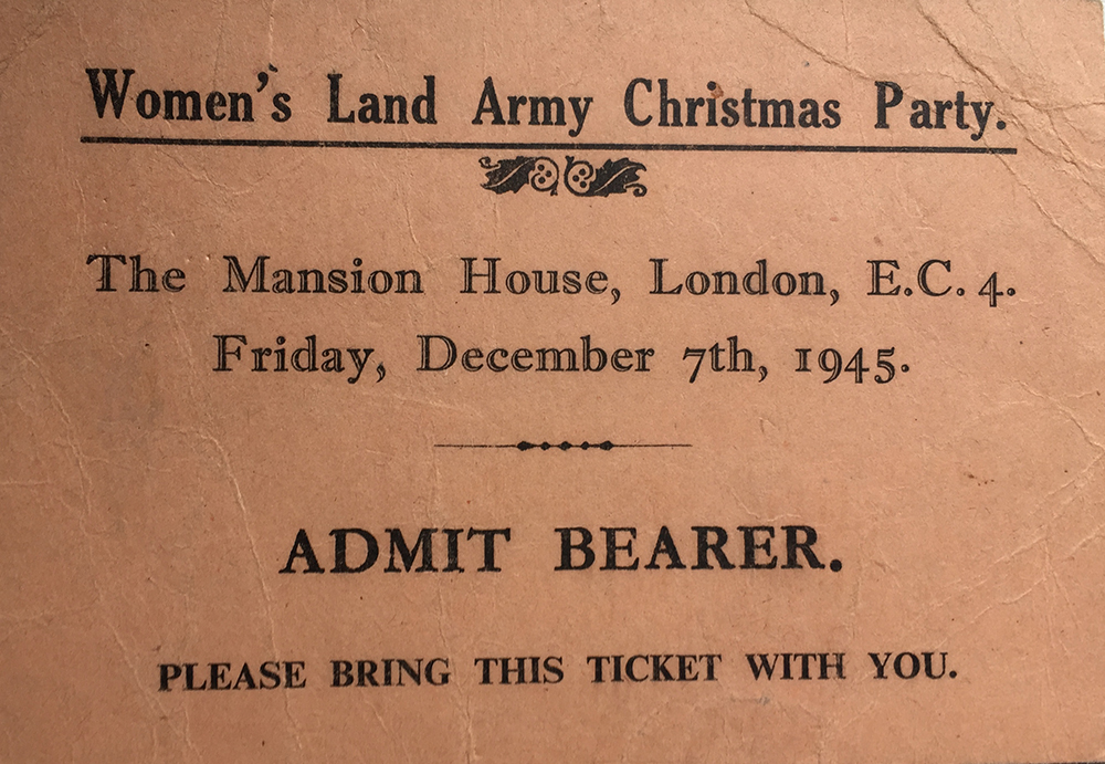 WLA Christmas Party Ticket 7.12.1945