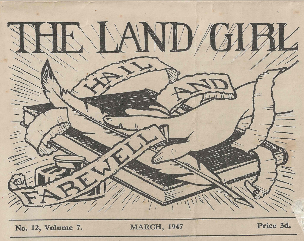 The front page illustration of The Land Girl by Isobel Mount, published in March 1947.