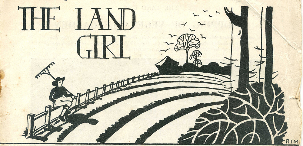 April 1942 edition of The Land Girl, drawn by R.Morris (WLA number, 44,240) who was previously a carpet designer.