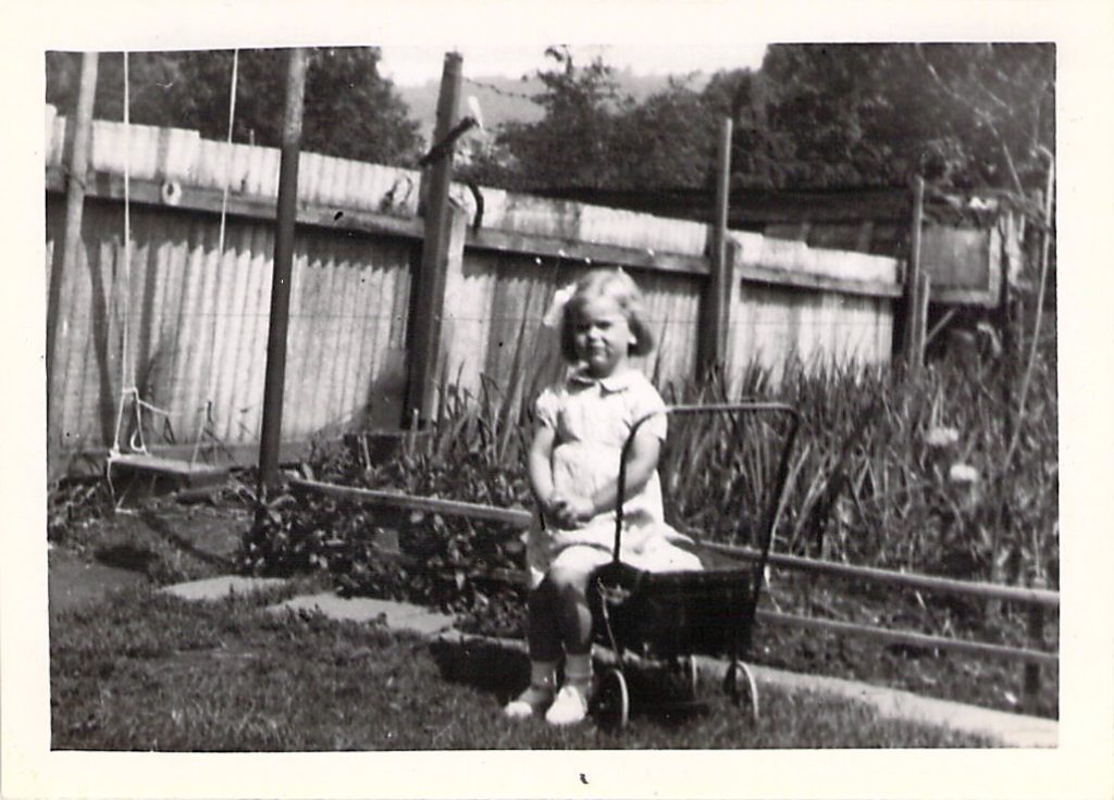 June, aged 3 in the garden in Wootton-u-Edge, 1943.