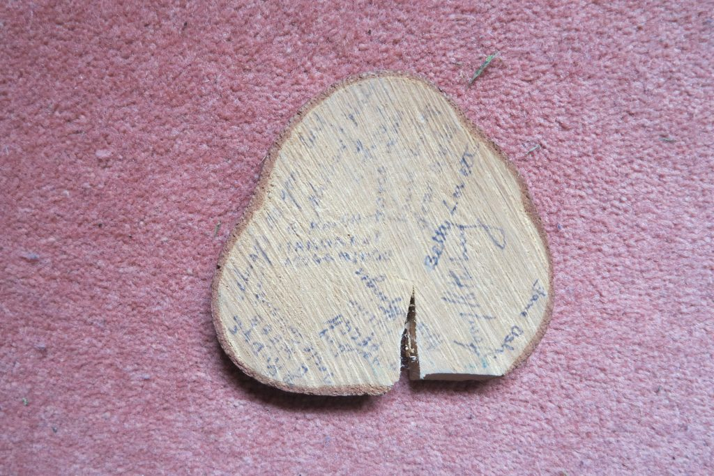 Joy's signed tree bark from her WTC training