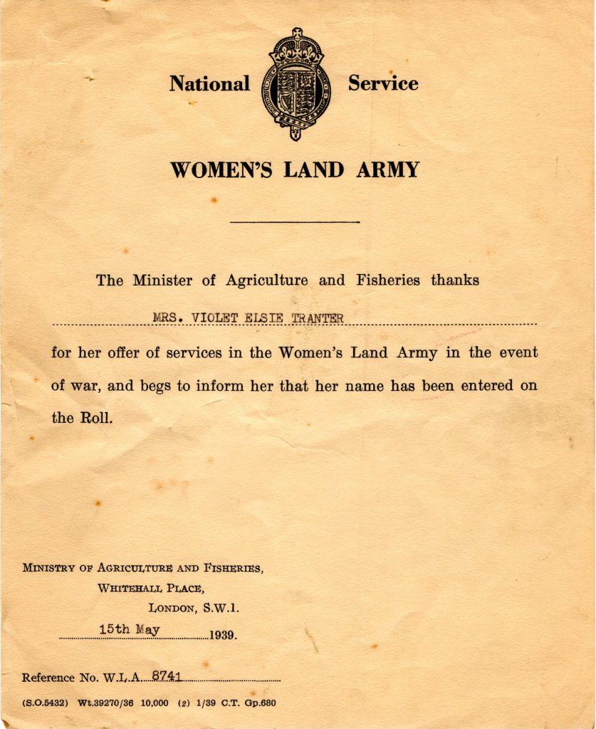 Violet Elsie Tranter Certificate