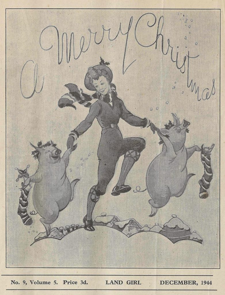 The front page drawing from the December 1944 edition of The Land Girl.