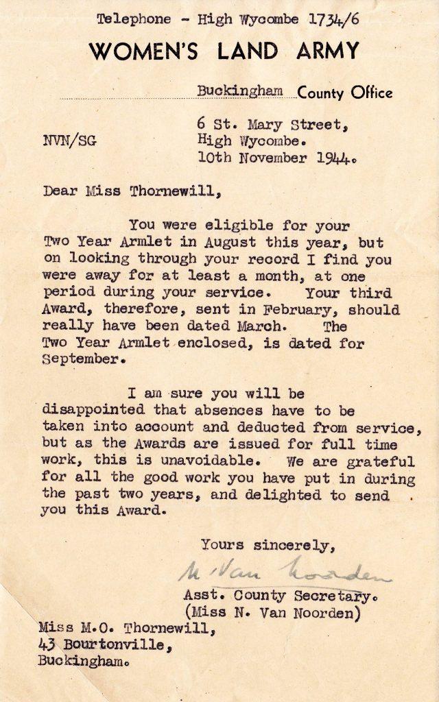 441110 Letter regarding armlet