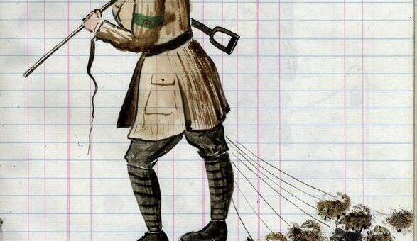 Pack Drill WLA Sketch. Source: Carisbrooke Castle Museum, Isle of Wight.