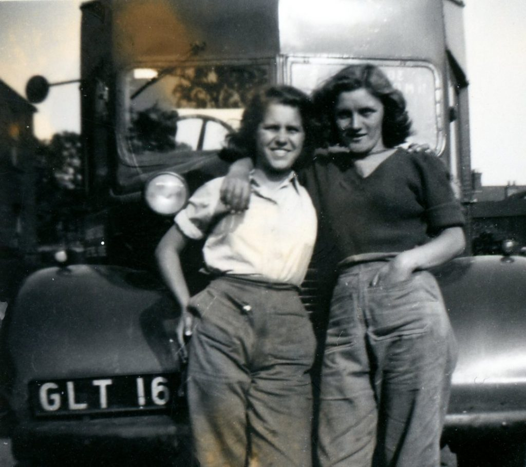 Rhoda and Kath in the front of a lorry