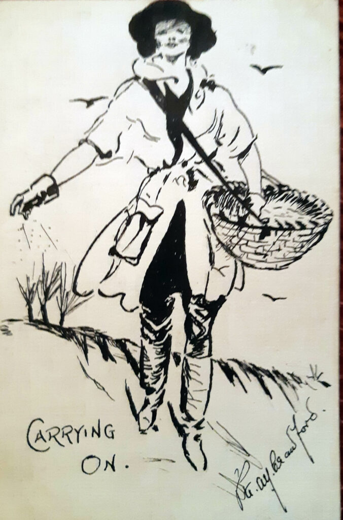 World War One Land Girl Sketch Postcard