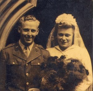 GI bride Peggy Davison marries 'Joe' Albertson 14 July 1945 Luton, Bedfordshire
