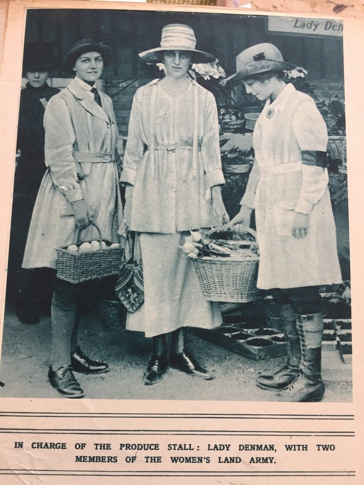 Lady Denman with two members of the Women's Land Army