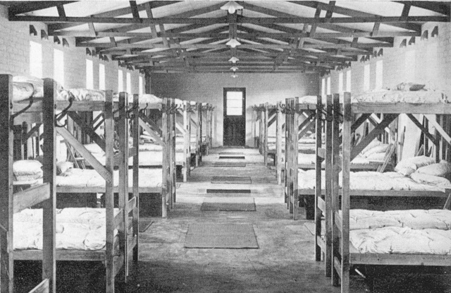 he interior photo showing the reality of the bunk bed facilities in a hutment hostel dormitory block.