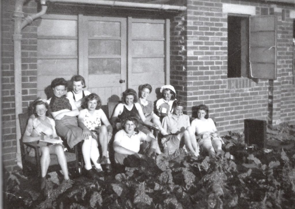 Land Girls outside Ripon Hostel, run by the YWCA.