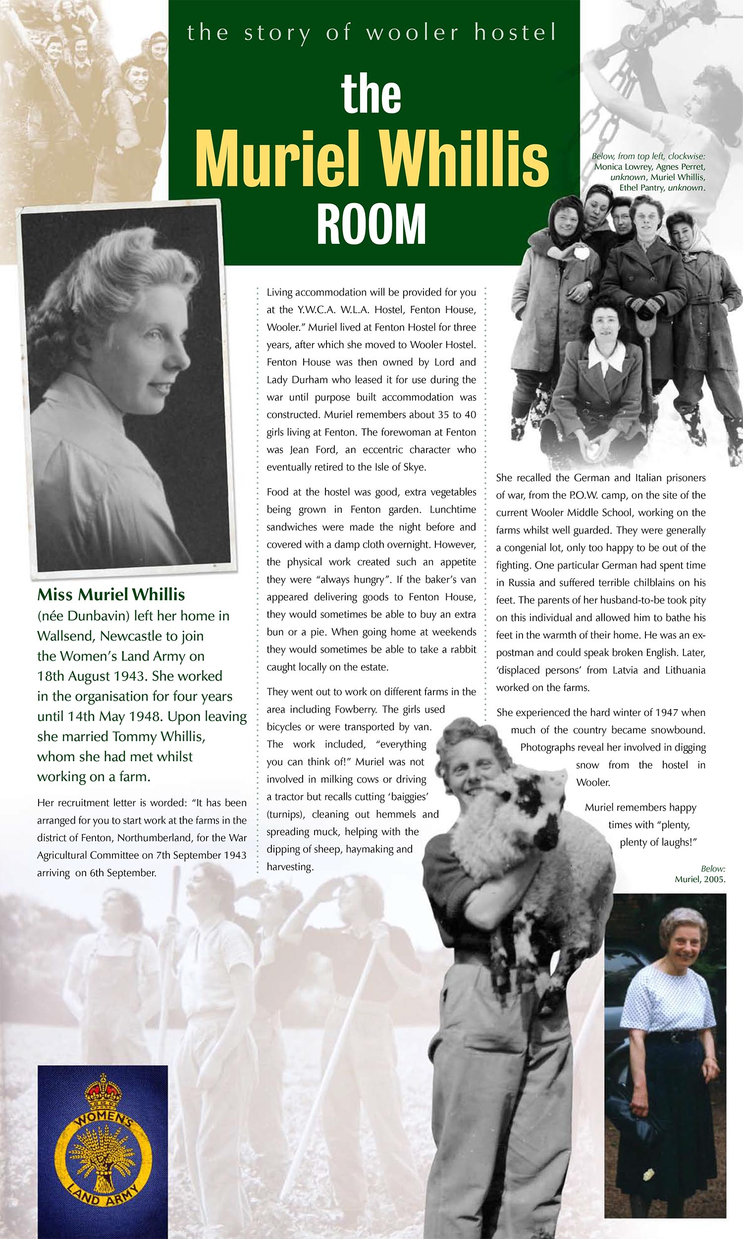 Introducing the 7th Land Girl of Wooler Hostel, Muriel Whillis.