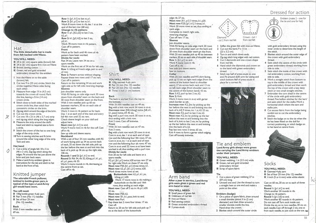 Dress Your Own Land Army Doll Knitting Pattern Page 2