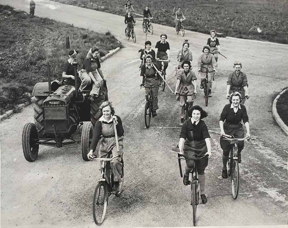 Land Girls on bikes: merrily we roll along