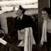 WW2 Photo: Lumber Jills leaving bath hut