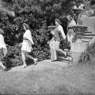 Land girls staying at St Elmo's WLA Rest House, Torquay, go swimming during their paid holiday. Photo courtesy of the Imperial War Museum.