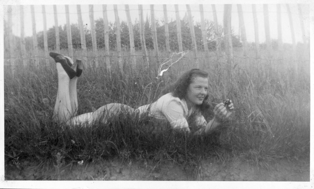 Dot Jeffreys lying down in the grass