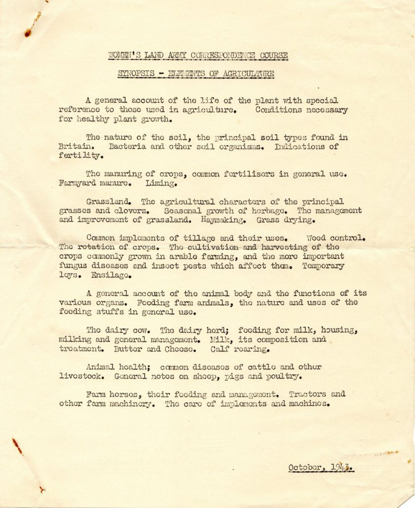 A summary of the Agriculture Course in October 1943. Source: Catherine Procter