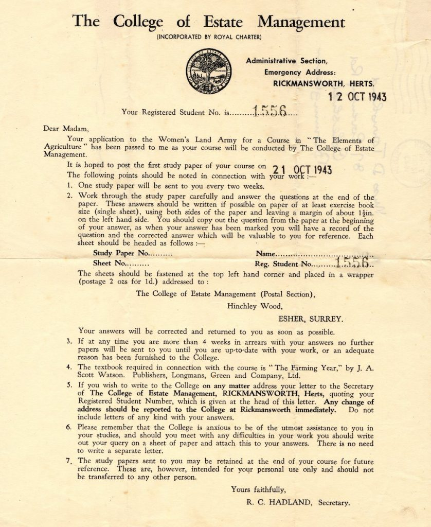 A confirmation letter send to Land Girl D Townshend confirming her enrolment on the Elements of Agriculture Course in October 1943.