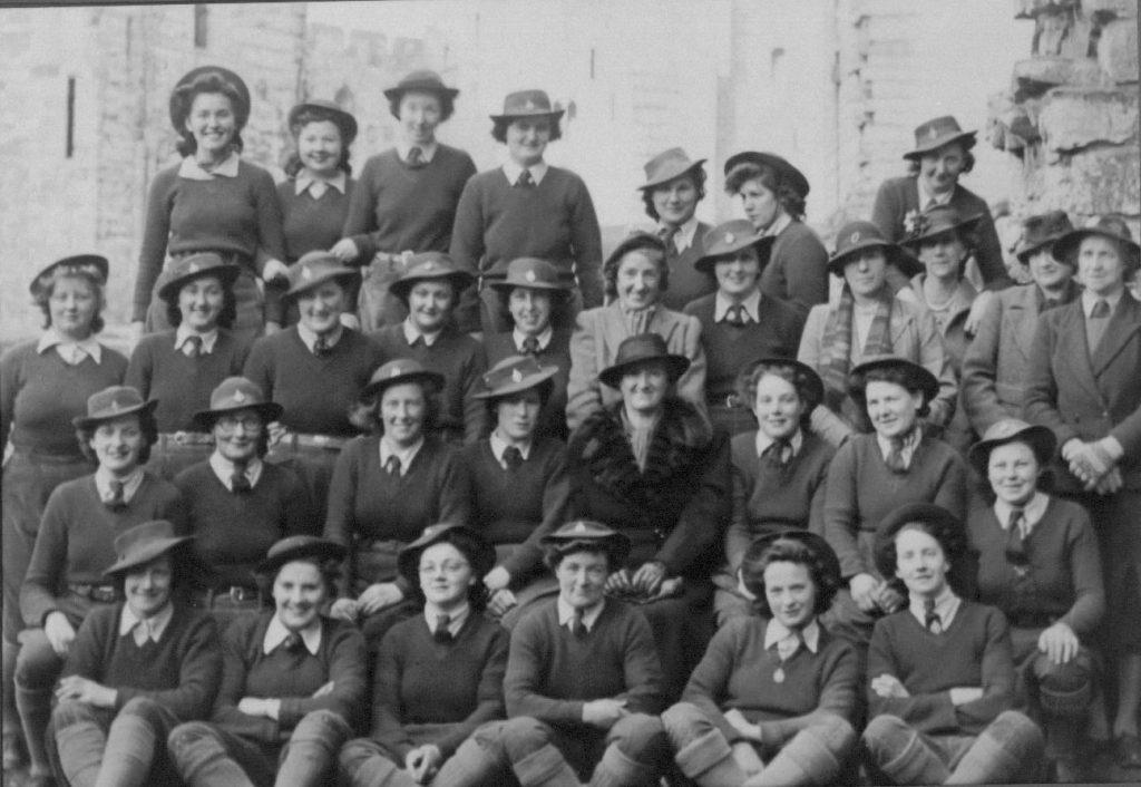 Gwyneth Mary Edwards with her WTC group Caernarfon around 1943
