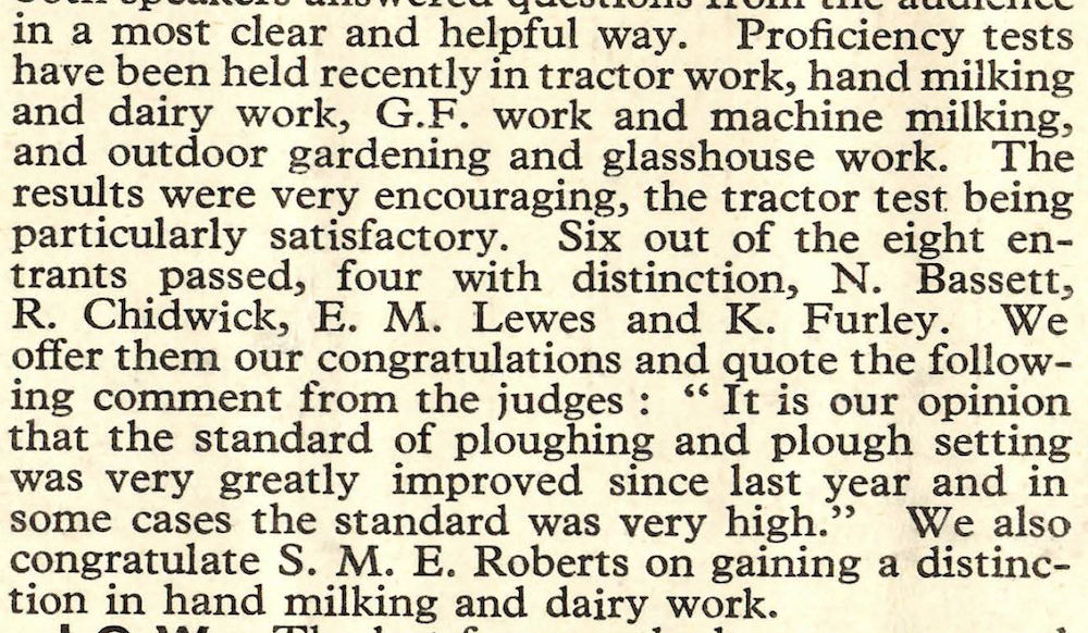 K Furley mentioned in The Land Girl, August 1945, p.14