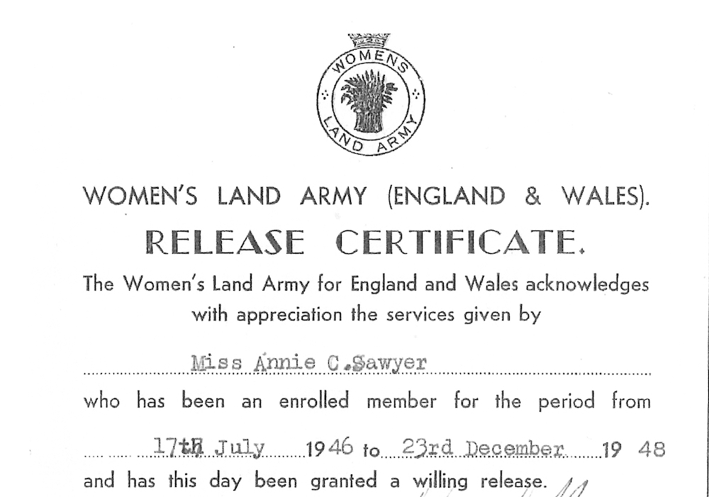 Annie Sawyer WLA Certificate