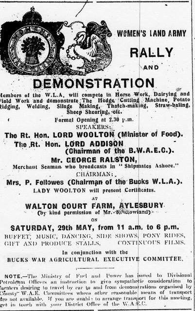 Bucks WLA Demonstration & rally newspaper notice 1943