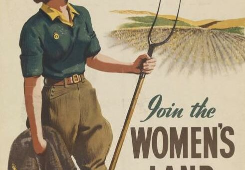 FOR A HEALTHY, HAPPY JOB - JOIN THE WOMEN'S LAND ARMY (Art.IWM PST 6078) image: a young woman, wearing the Land Army uniform, stands with a pitchfork in her left hand and holds her jacket in her right. She surveys a field of wheat. Copyright: � IWM. Original Source: http://www.iwm.org.uk/collections/item/object/36790