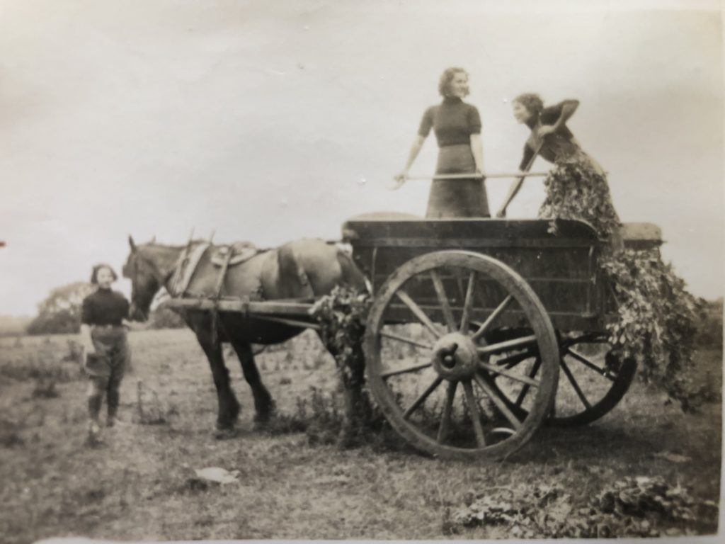 Jean Birtles with fellow Land Girls