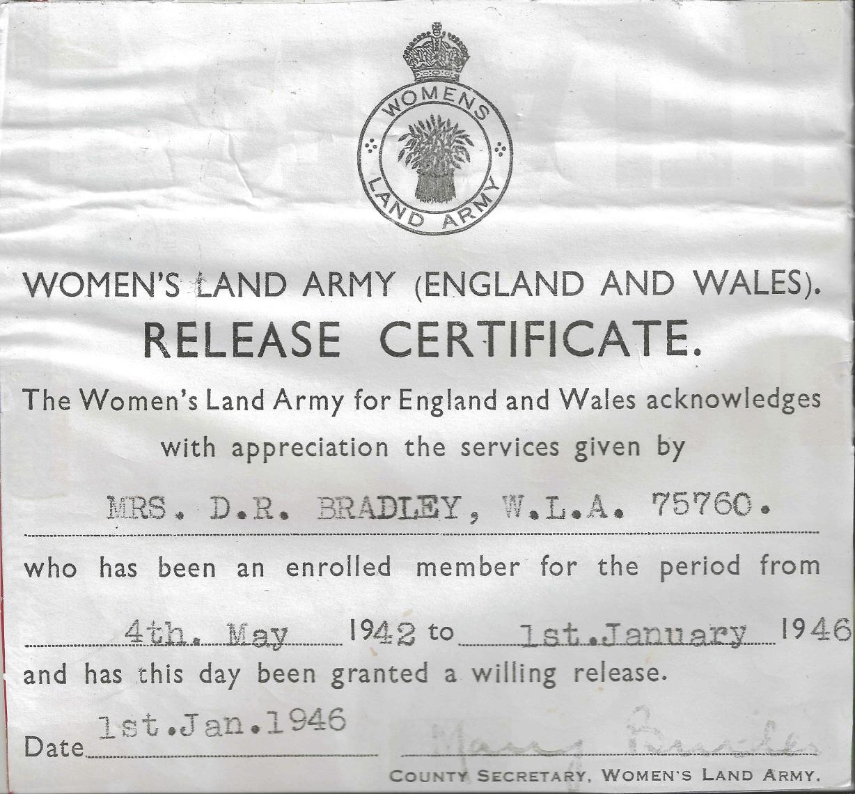 certificate release doris bradley army land