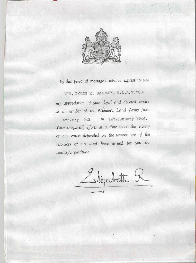 Doris Bradley WLA Certificate