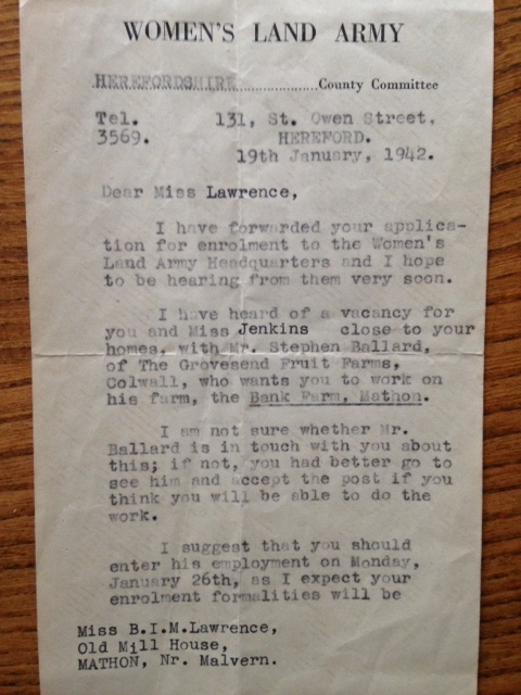 Lawrence Enrolment Letter, January 1942