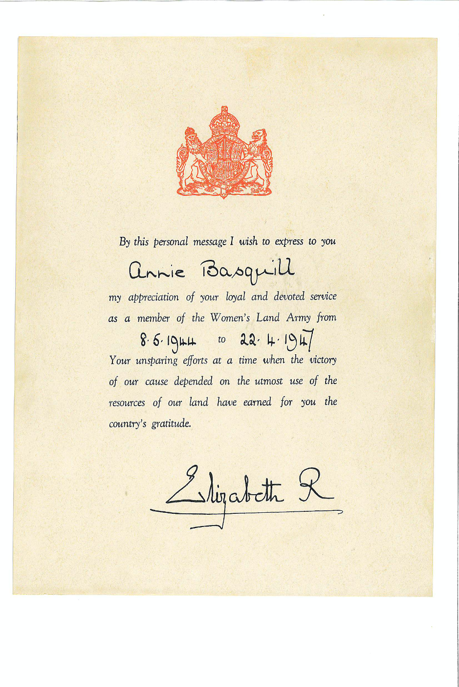 Annie Popplewell (née Basquill) Certificate