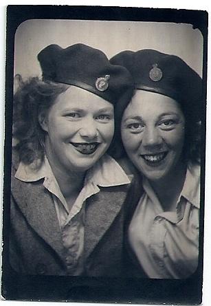 Daphne Yvonne Dupree with Land Girl wearing Lumber Jill beret