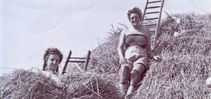 Gwendoline Ragget nee Place thatching on roof